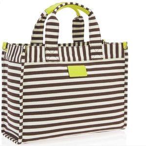 Henri Bendel New York brown stripped canvas bag